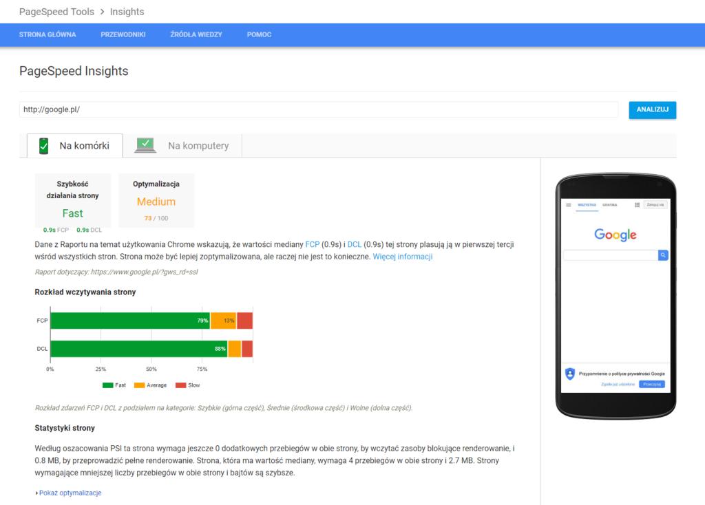 nowe wykresy w PageSpeeg Insights