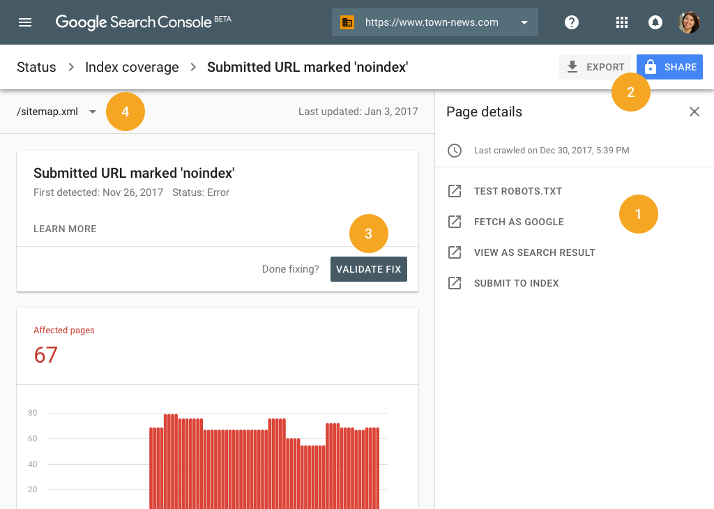 Index Coverage report w Google Search Console
