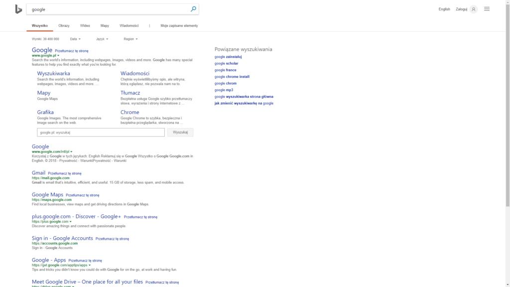 wyszukiwarka Bing