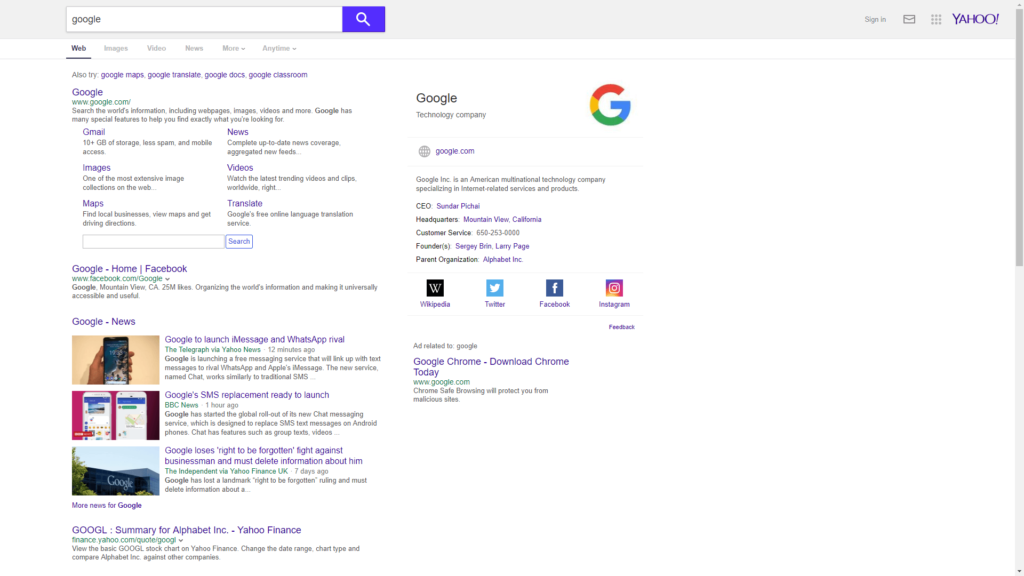 wyszukiwarka Yahoo