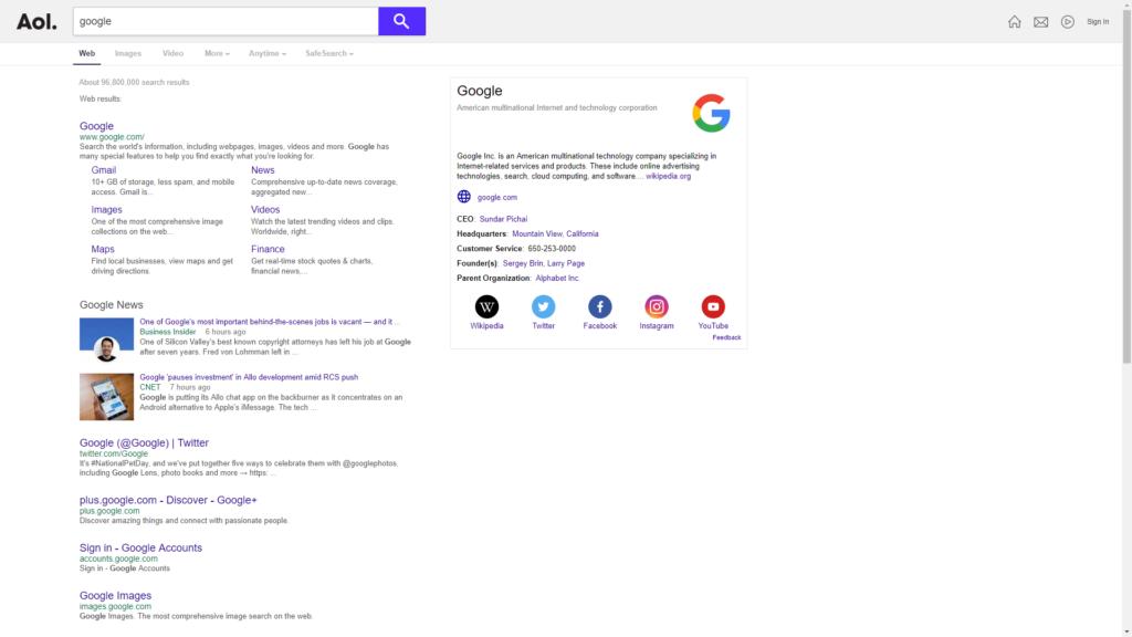 wyszukiwarka AOL