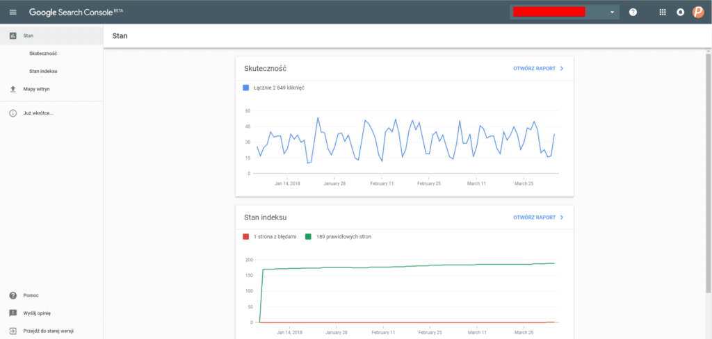 nowy user interface w search console