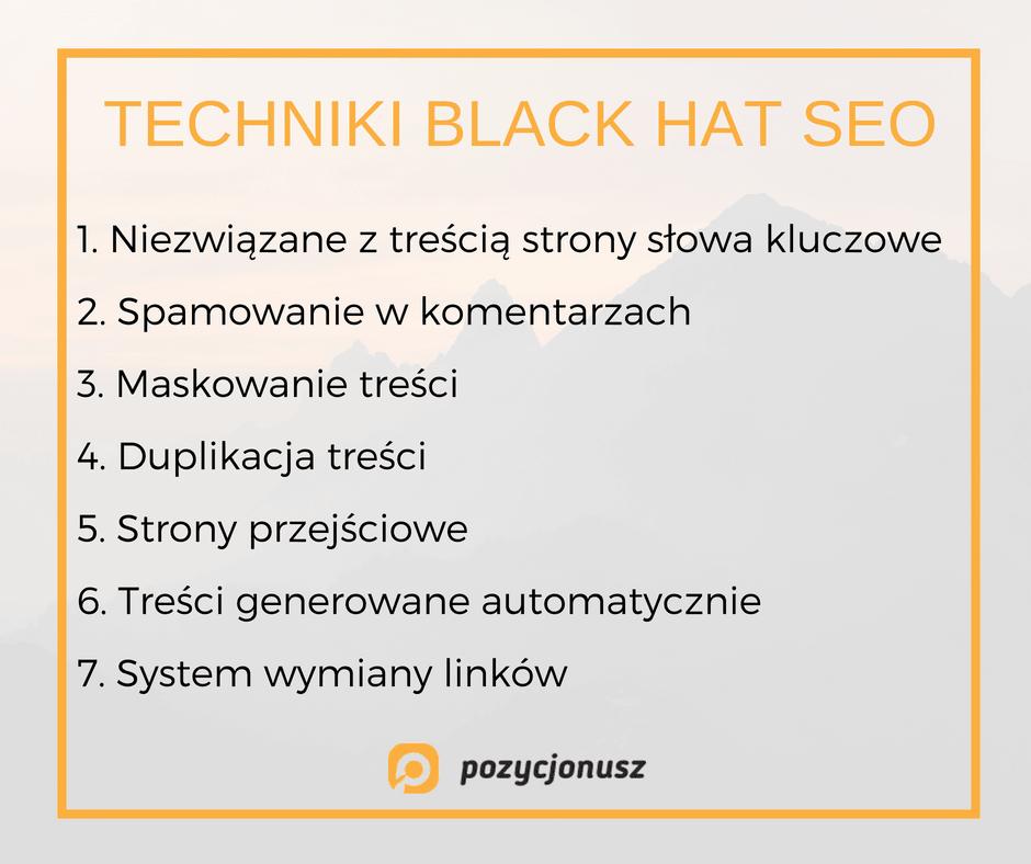 techniki stosowane w black hat seo