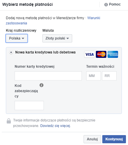 Jak dodać metody płatności? - Facebook Business Manager