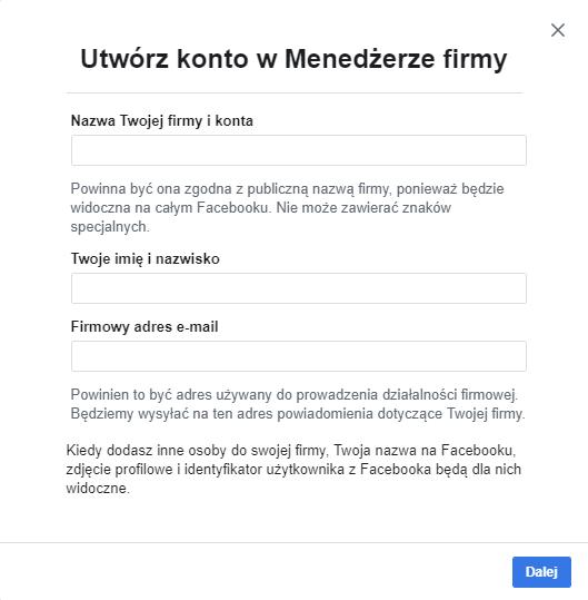 Jak założyć konto? - Facebook Business Manager