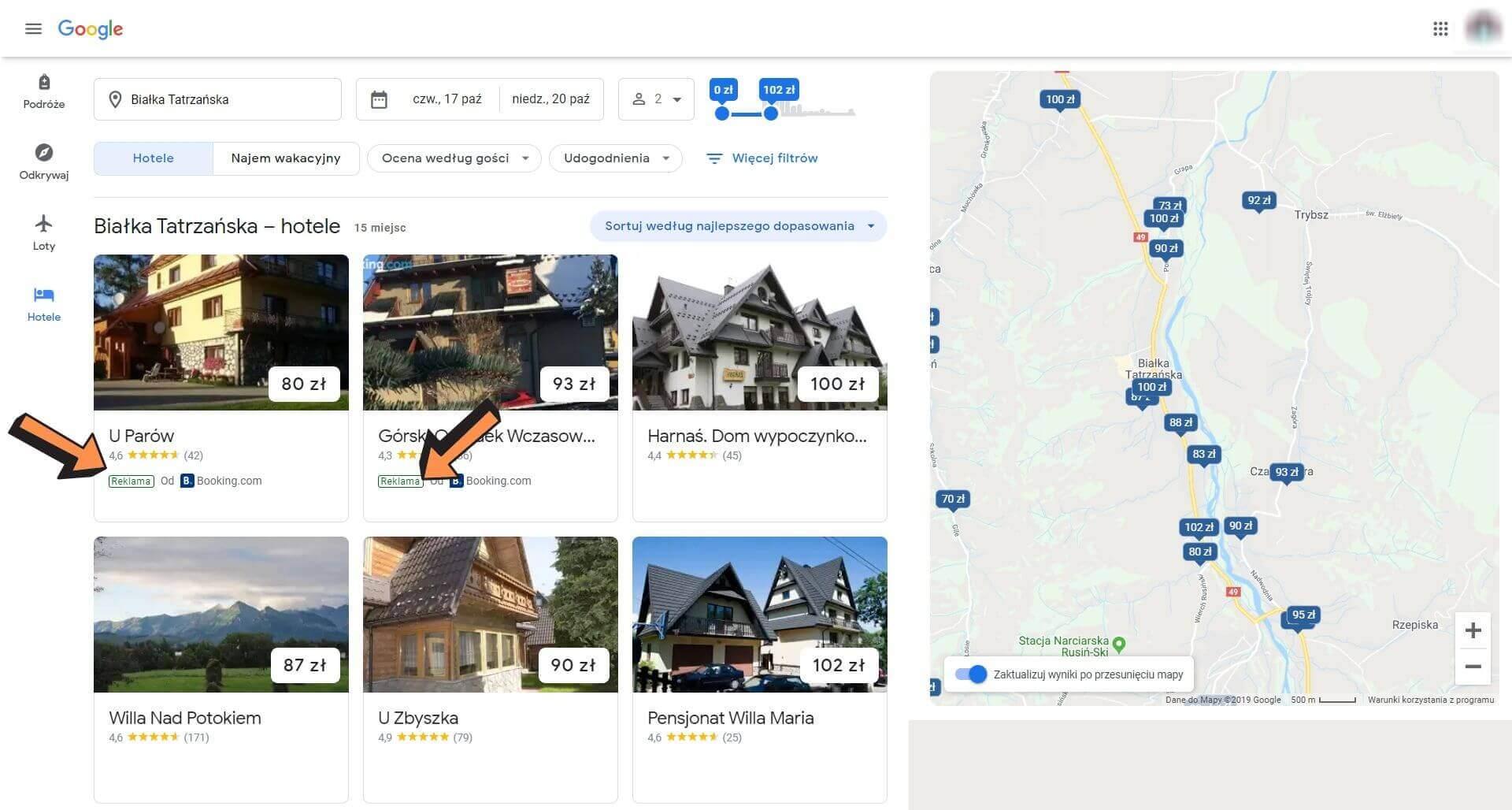 narzędzie google hotel ads