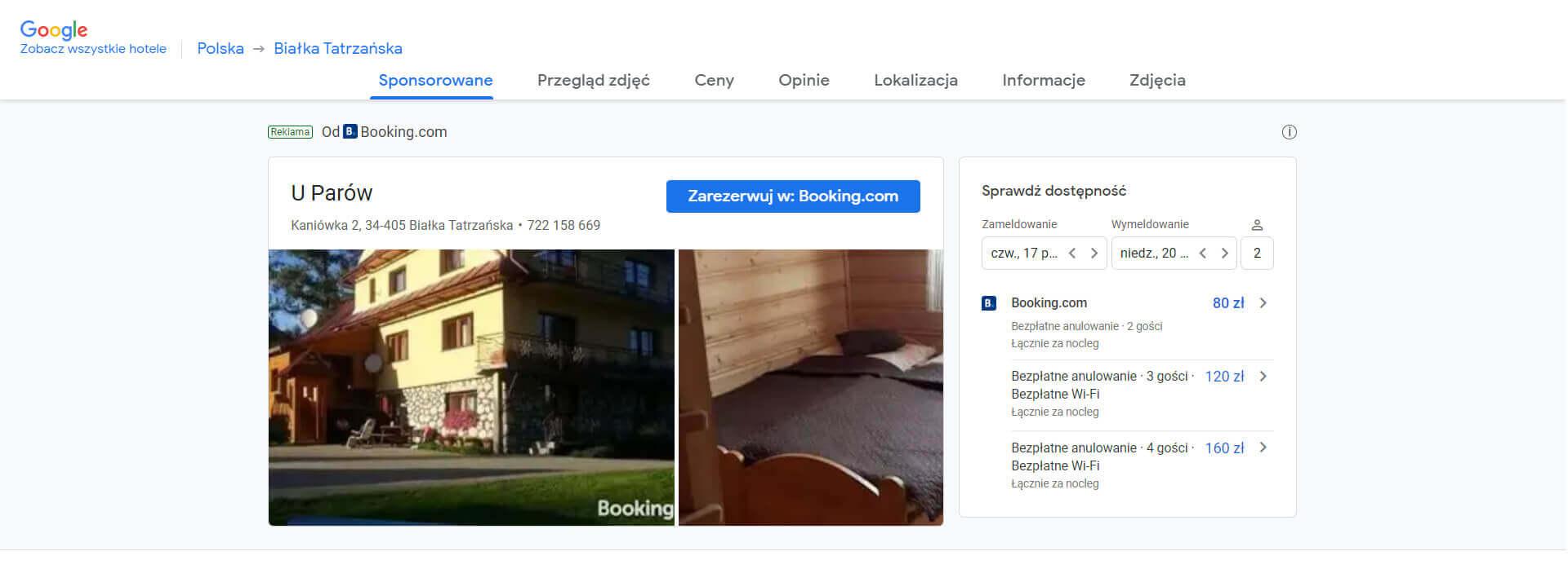 reklamowanie hotelu w google