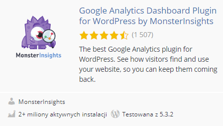top10 wtyczek do wordpressa pod seo - google analytics dashboard plugin
