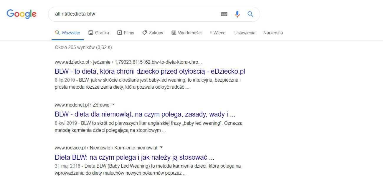allintitle wyszukiwanie google