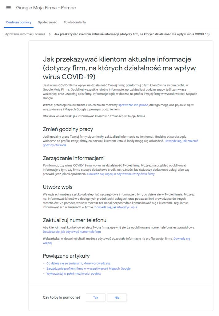 Google apeluje do firm dotkniętych koronawirusem, aby zaktualizowały informacje w GMF