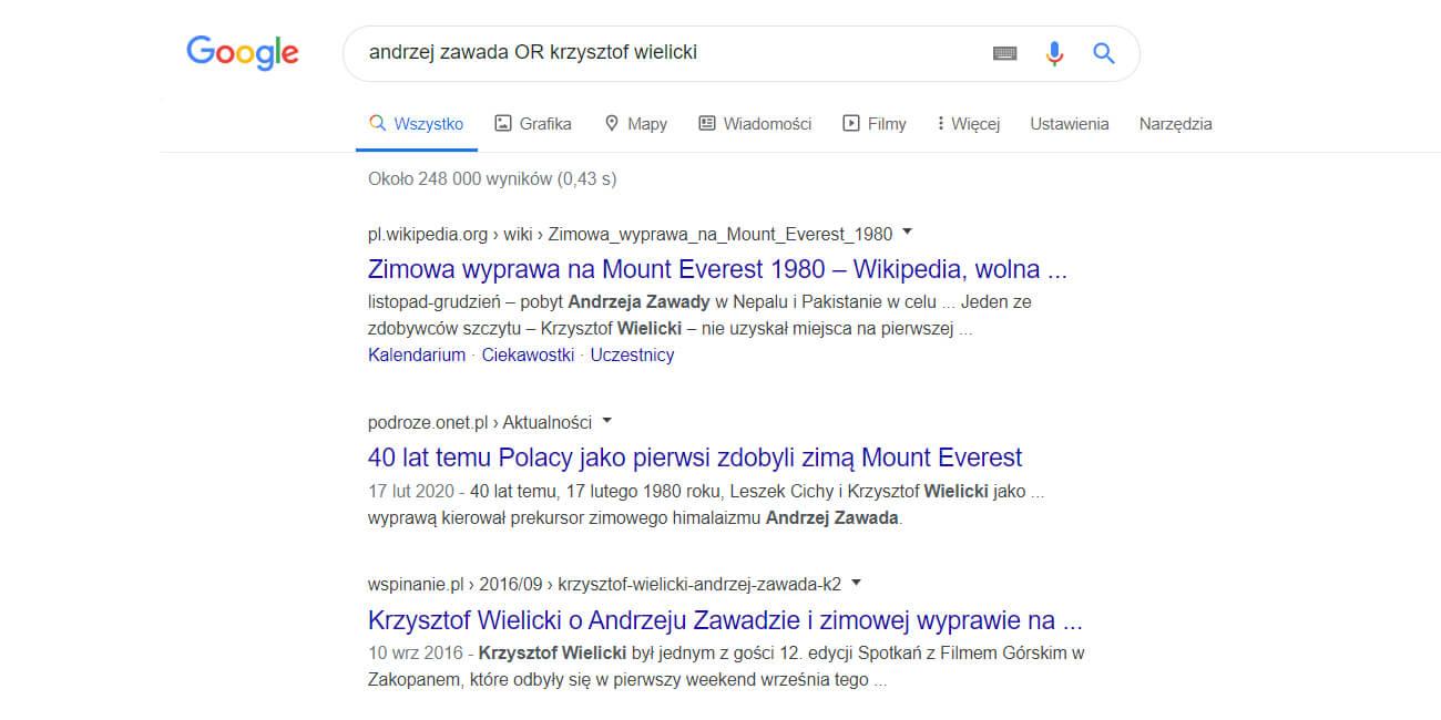 szukanie dwóch fraz w google jednocześnie