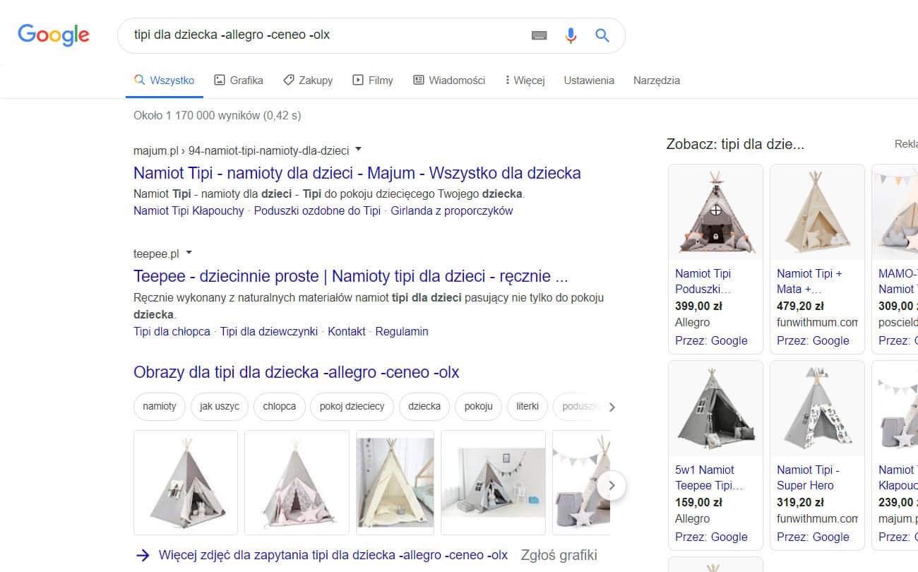 wykluczanie domen podczas wyszukiwania