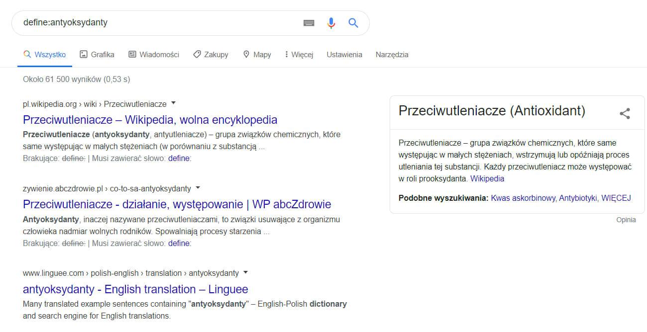 wyszukiwanie definicji w google
