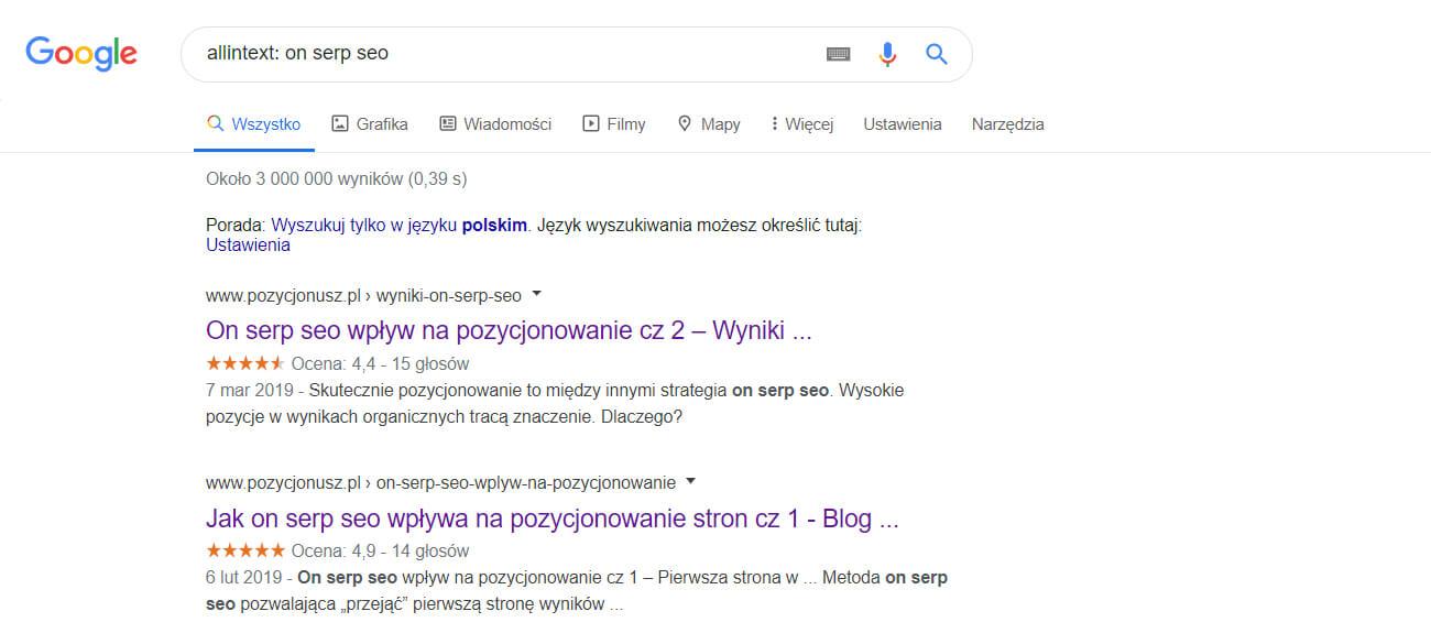 wyszukiwanie fraz w tekście w google