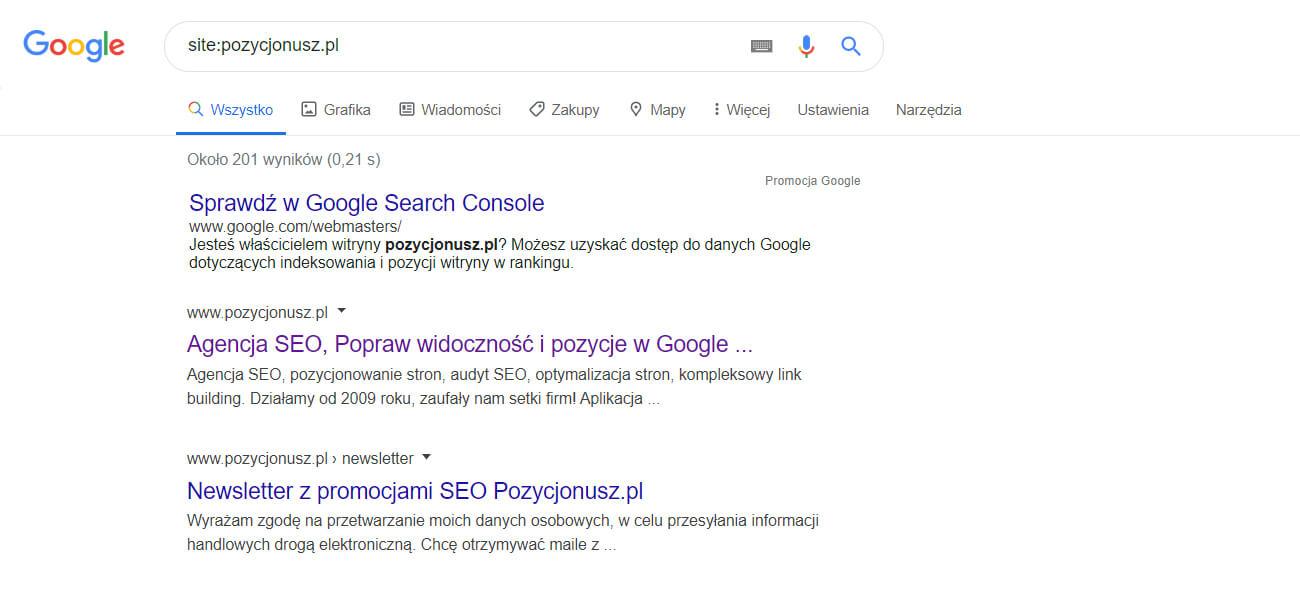 wyszukiwanie na jednej stronie