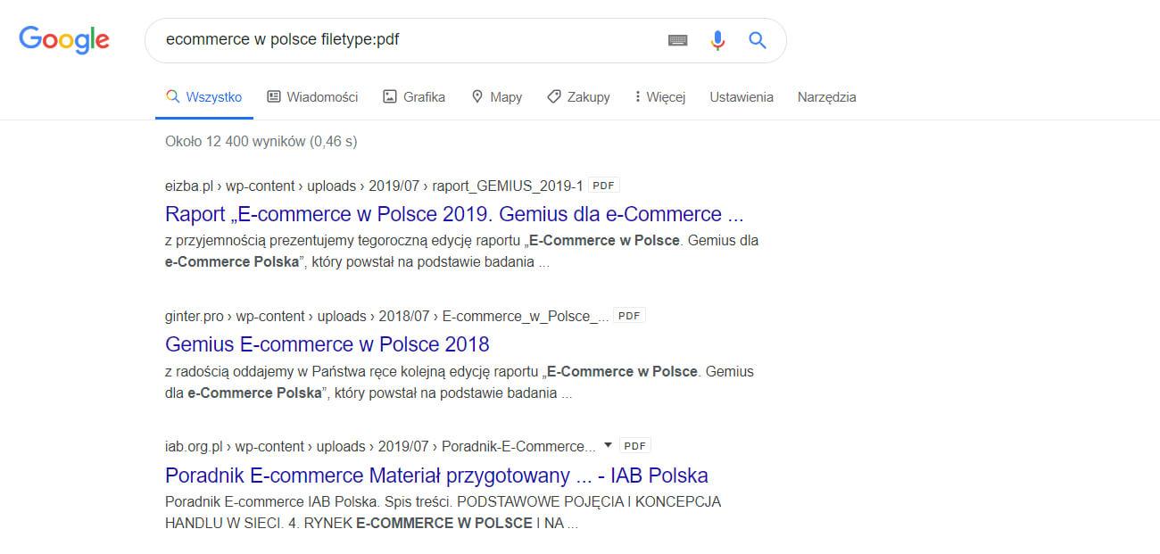 wyszukiwanie plików pdf w google