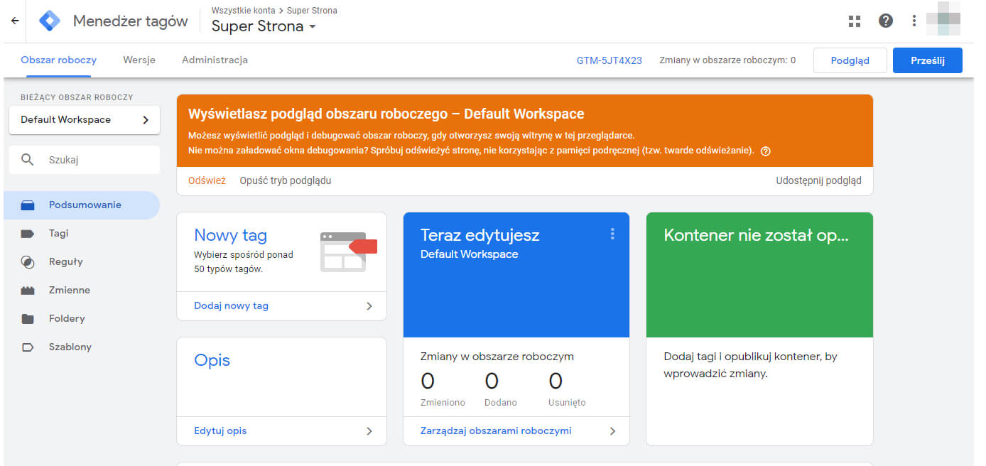panel administracyjny google tag manager