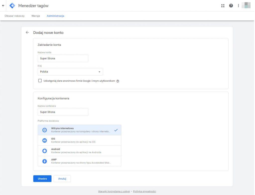 zakładanie konta w google tag manager