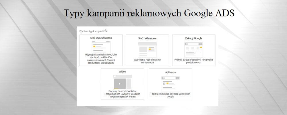 typy kampanii reklamowych google ads